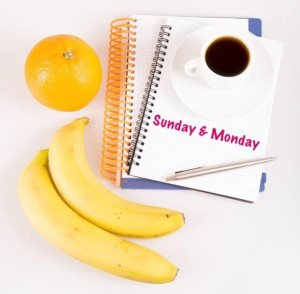 Sunday and Monday Food Journal