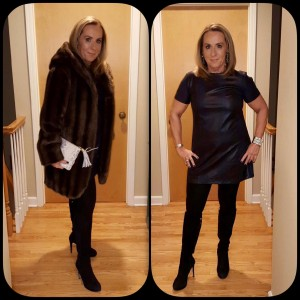 Black mini dress with and without faux fur coat