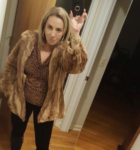 Faux fur jacket with leopard print shirt