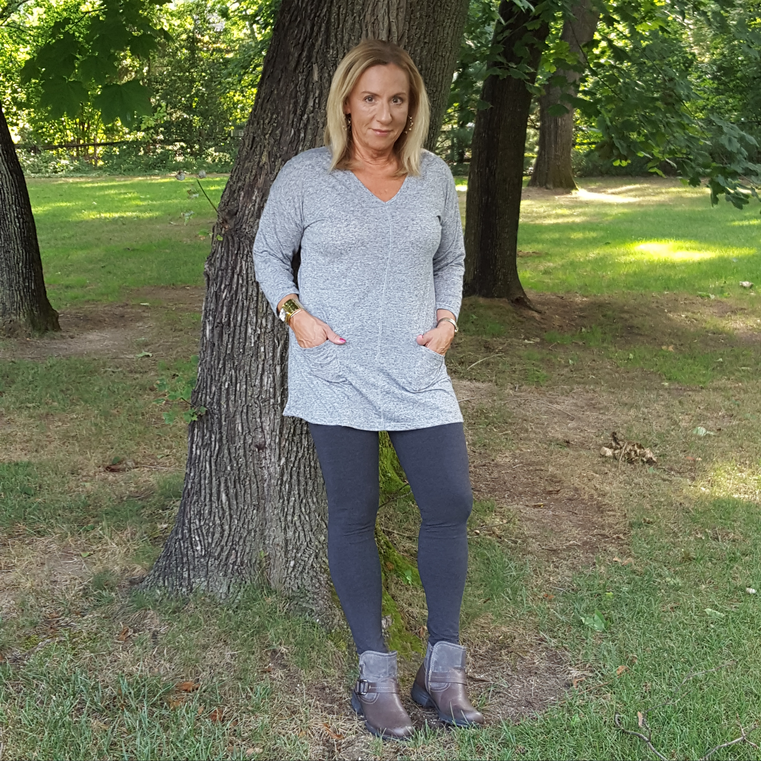 tonal outfit with leggings